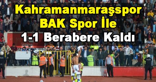 Kahramanmaraşspor Maçı Beraberlikle Sonlandırdı