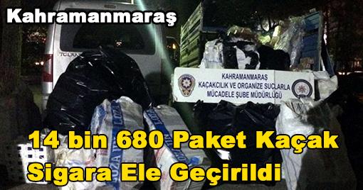 14 bin 680 Paket Kaçak  Sigara Ele Geçirildi